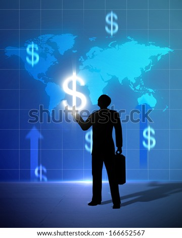 Light bulb dollar sign icon and world business person with dollar sign up created by computer graphic 3d.