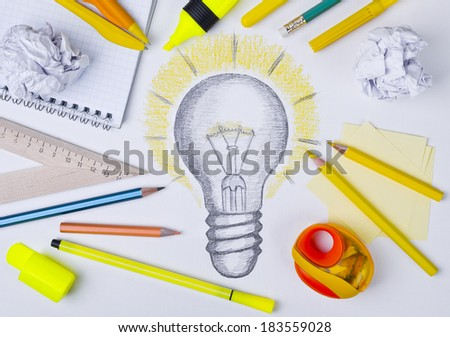 Light bulb drawing, inspiration concept - stock photo