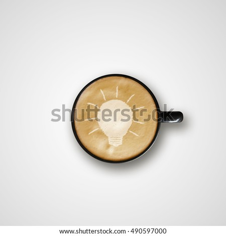 light bulb Drawing Latte Art Coffee Cup, creative concept