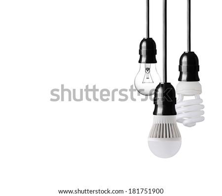 Light bulb,energy saver bulb and LED bulb on white - stock photo