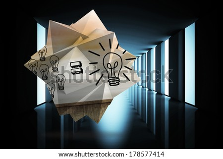 Light bulb equation on abstract screen against lit up black modern hallway