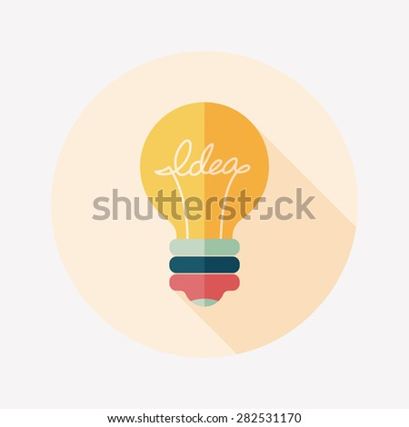 Light bulb flat icon with long shadow,eps10 - stock photo