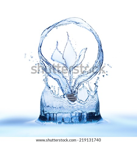 Light bulb from water splash with splash form leaf inside - stock photo