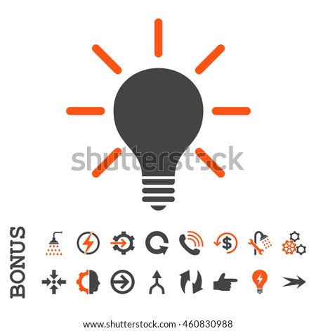 Light Bulb glyph bicolor icon. Image style is a flat pictogram symbol, orange and gray colors, white background.