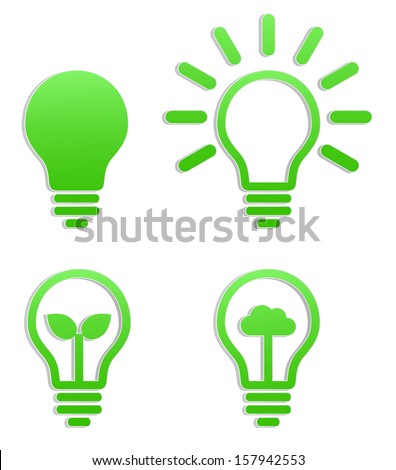 light bulb green sticker icon