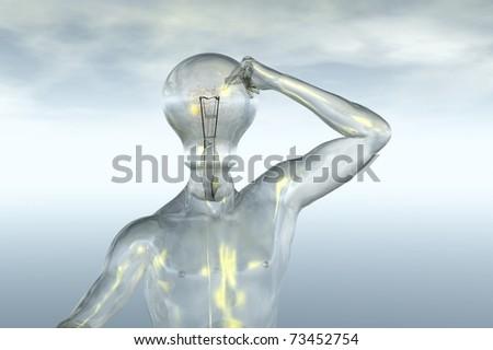 light bulb head idea thought 3d render concept image - stock photo