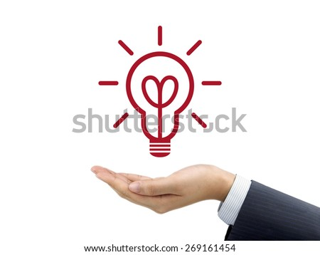 light bulb holding by businessman's hand over white background - stock photo