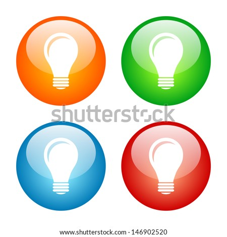 Light Bulb Icon Colorful Glass Icon Set. Raster version, vector also available. - stock photo