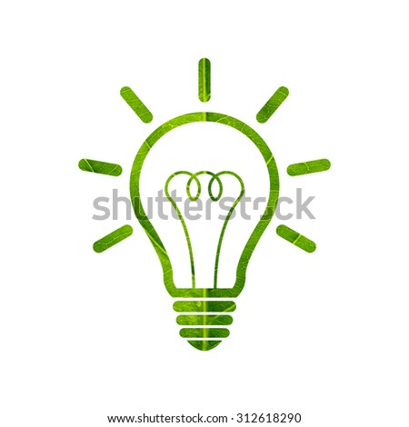 Light bulb icon made of green leaf isolated on white background - stock photo