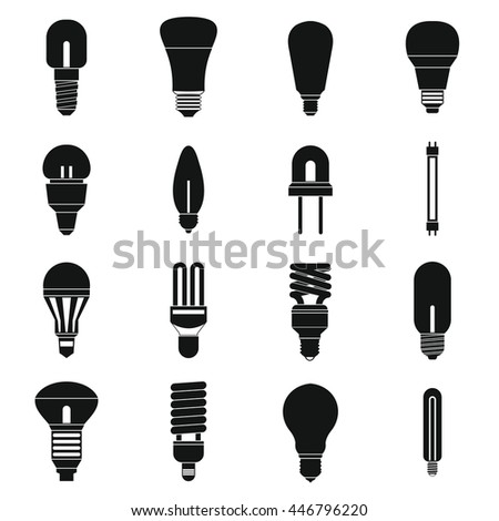 Light bulb icons set in simple style isolated on white background