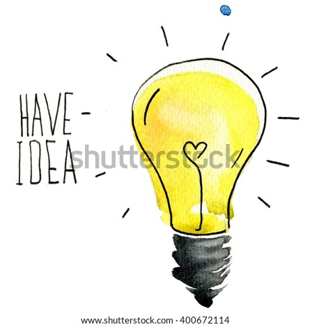 light bulb idea abstract sketch. Creative Idea with light bulb. Watercolor background. Lettering. Quote. Concept of creative thinking and unique ideas. Set icons. - stock photo