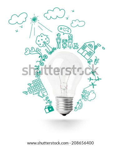 Light bulb idea with creative drawing eco friendly environment ecology concept design, isolated on white background - stock photo