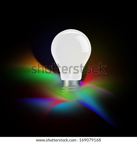 Light bulb illuminated on abstract background - stock photo
