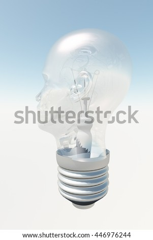 Light bulb in form of human head 3D Render - stock photo