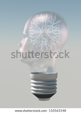 Light bulb in form of human head with electric arc inside - stock photo