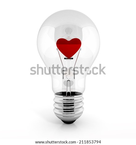 light bulb isolated on white background with heart in it. 3d render - stock photo