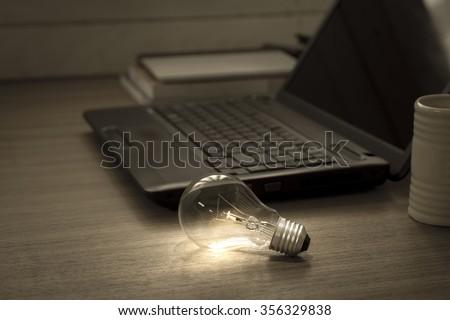 light bulb knowledge and idea concept - stock photo