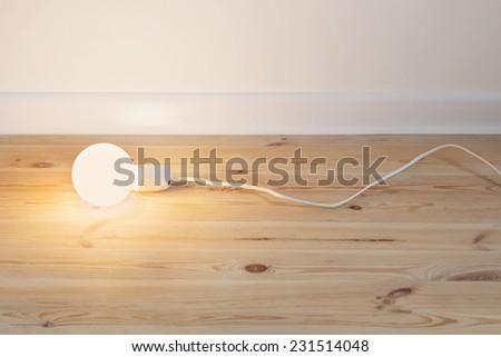 Light bulb lamp on wooden floor - stock photo