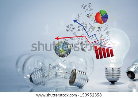 Light bulb lamps with business graph (Elements of this image furnished by NASA)