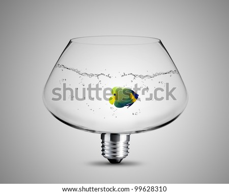 light bulb made from fish bowl, light bulb conceptual Image. - stock photo
