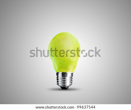 light bulb made from Green Pear , light bulb conceptual Image. - stock photo