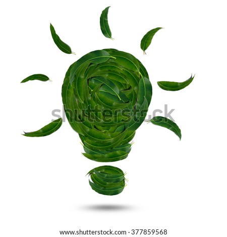 Light bulb made of green leaf, green eco energy concept. Isolated on white background - stock photo