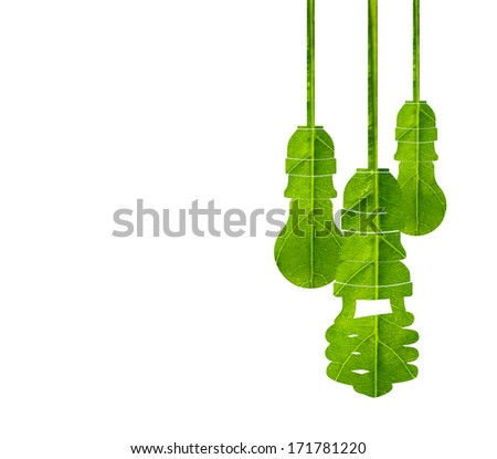 Light bulb made of green leaf isolated on white background,green eco energy concept. - stock photo