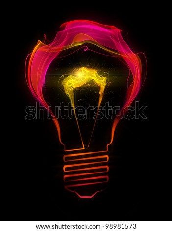Light bulb made up of abstract energy