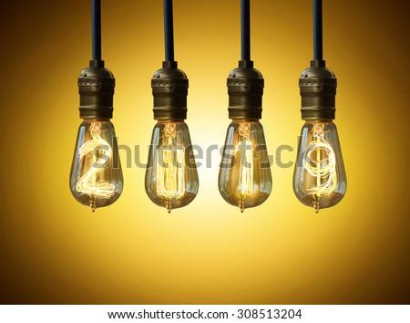 light bulb,new year 2019 - stock photo
