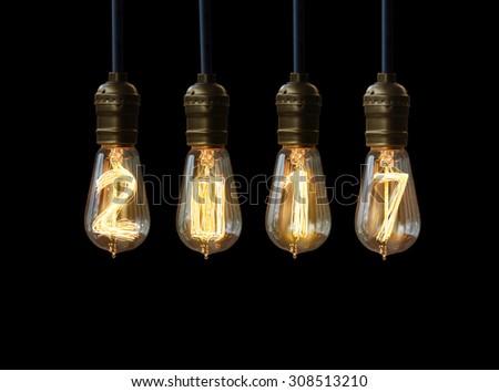 light bulb,new year 2017 - stock photo