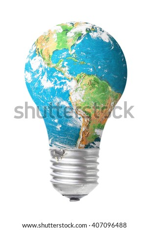 Light bulb of blue planet. Elements of this image furnished by NASA. Idea, Energy, Light, Power. - stock photo