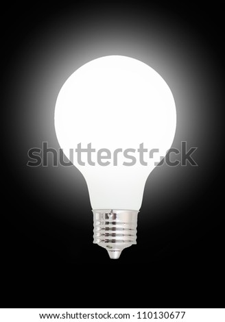 Light bulb on black background.