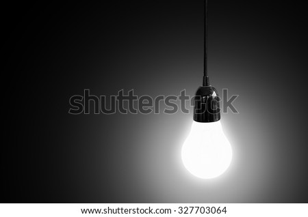 Light bulb on black background, Concept think ideas.
