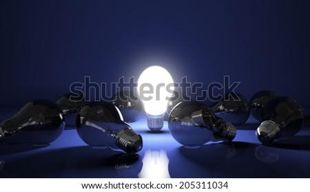 Light Bulb on - High quality render - stock photo