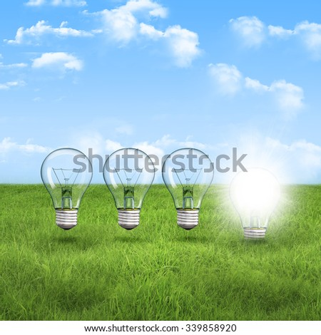 light bulb on the green grass