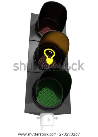 "Light bulb on Traffic Light - Traffic light showing a ""idea""-sign."