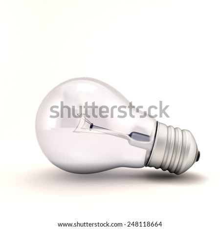 Light bulb on white. 3d render image. - stock photo