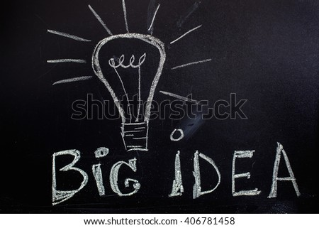 "light bulb painted on a board and the text ""Big Idea"". High sharpness"