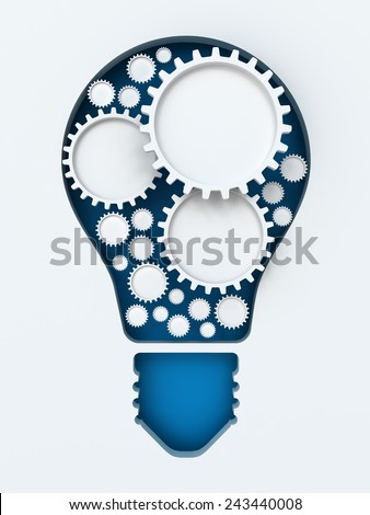 Light bulb paper cut with gears and copyspace, 3d render, white background - stock photo