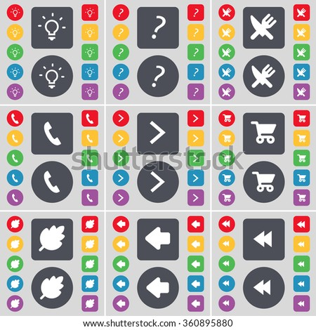 Light bulb, Question mark, Fork and knife, Receiver, Arrow right, Shopping cart, Leaf, Arrow left, Rewind icon symbol. A large set of flat, colored buttons for your design. illustration - stock photo