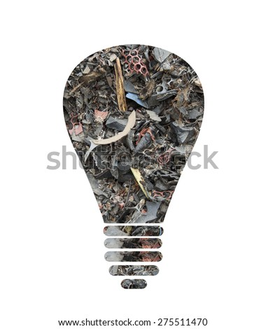 Light bulb silhouette made of scrap tires as concept for alternative energy - stock photo