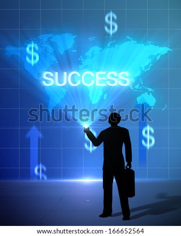 Light bulb success and world business person with dollar sign up created by computer graphic 3d. - stock photo