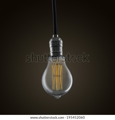 Light bulb turn on with brown background