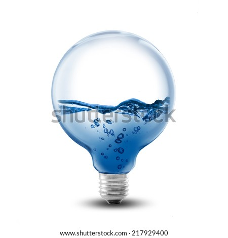 Light bulb water inside. Concept for environment conservation - stock photo