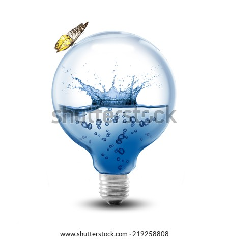 Light bulb water splash inside and butterfly on the bulb. Concept for environment conservation - stock photo