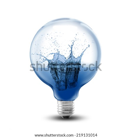 Light bulb water splash inside. Concept for environment conservation - stock photo