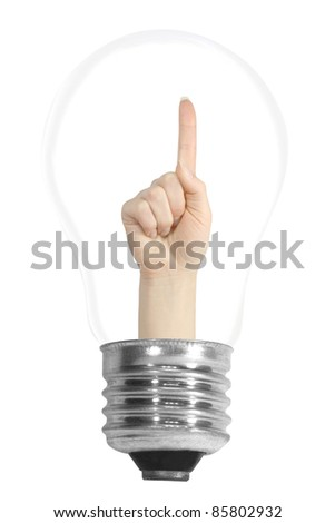 light bulb with a hand isolated on white background