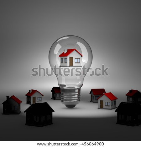 Light Bulb with an House Inside under Spotlight 3D Illustration