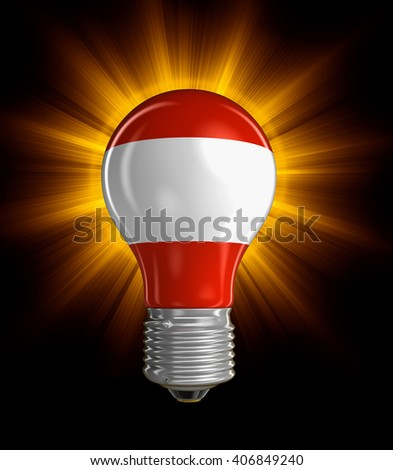 Light bulb with Austrian flag.  Image with clipping path - stock photo