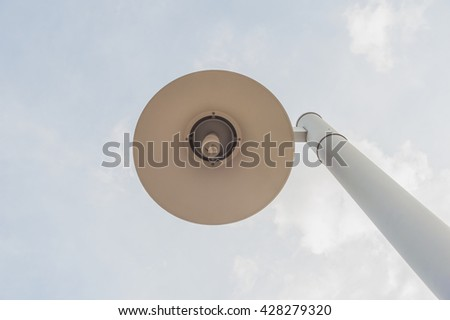 Light bulb with blue sky and white cloud background